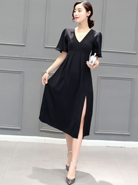 Ericdress Solid Color V-Neck Flare Sleeve Split Casual Dress