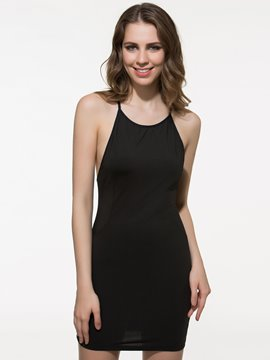 Sexy Round-Neck Sleeveless Cross Straps Backless Little Black Dress