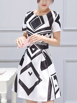 Ericdress Color Block Short Sleeve Casual Dress