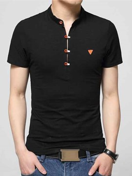 Ericdress Plain Button Design Slim Fit Men's T-Shirt