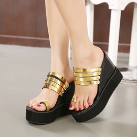 Ericdress Metal Toe Ring Wedge Mules Shoes