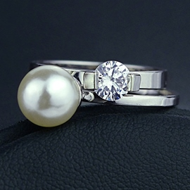 White Artificial Pearl Ring