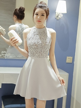 Ericdress Lace Patchwork Halter Casual Dress