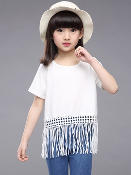 Ericdress Solid Color Tassel Girls Top
