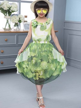 Ericdress Floral Print Chiffon Girls Dress