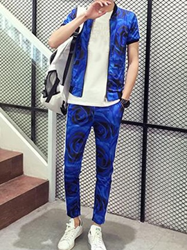 Ericdress Print Zip Vogue Casual Men's Suit
