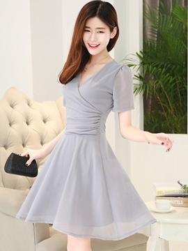 Ericdress Soild Color High Waist Casual Dress