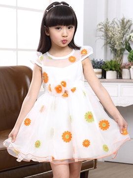 Ericdress Floral Girls Dress