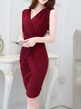 Ericdress Solid Color Pleated Patchwork V-Neck Sheath Dress