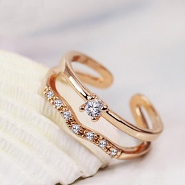 Gold-Plated Double-Layer Opening Ring
