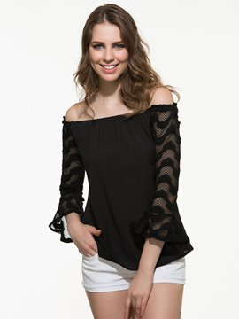 Ericdress Mesh Hollow Slash T-Shirt
