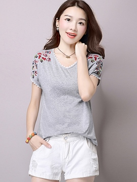 Ericdress Loose Casual V-Neck Printed T-Shirt