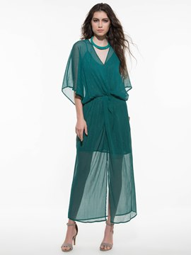 Ericdress Chiffon Plain See-Through Maxi Dress