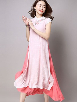 Ericdress Embroidery Double-Layer Ethnic Maxi Dress