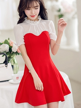 Ericdress Mesh Patchwork Casual Dress