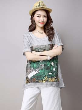 Ericdress Loose Printed Cotton Blends Casual T-Shirt