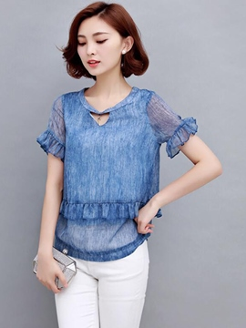 Ericdress Solid Color Loose Frill Blouse