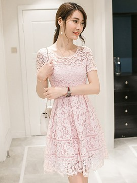Ericdress A-Line Solid Color Lace Dress