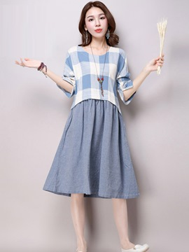 Ericdress Plaid Patchwork A-Line Pleated Round Neck Casual Dress