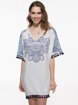 Ericdress Print V-Neck Loose Short Sleeve Casual Dress