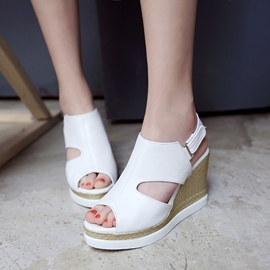 Ericdress Solid Color Peep Toe Wedge Sandals
