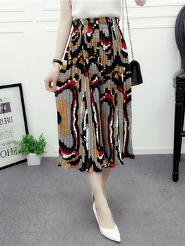 Ericdress Pleated Print Casual Pants