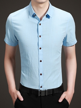 Ericdress Solid Color Simple Men's Shirt