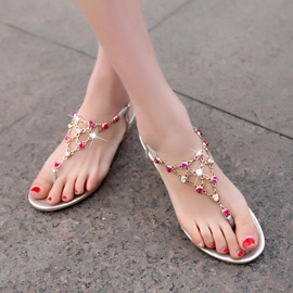 Ericdress Delicate Beaded Clip Toe Flat Sandals