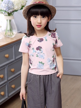 Ericdress Floral Short Sleeve Girls Pants Outfit