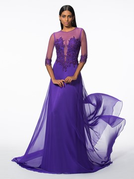 Ericdress Scoop A-Line 3/4 Length Sleeves Appliques Beading Court Train Evening Dress