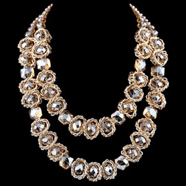 Short Double-Layer Crystal Necklace
