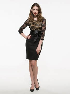 Ericdress Half Sleeve Lace Patchwork Sheath Dress