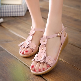 Ericdress Sweet Flower T Strap Flat Sandals