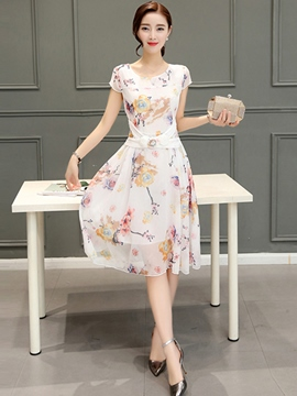 Ericdress Ladylike Short Sleeve High Waist Casual Dress