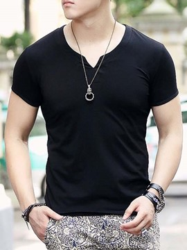 Ericdress Solid Color V-Neck Muscle Slim Men's T-Shirt