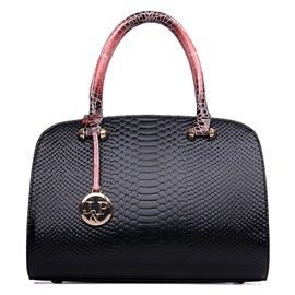 Ericdress Serpentine Embossed Boston Handbag