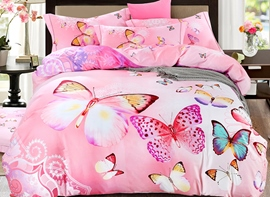 Ericdress Pink Butterfly Flying Print Cotton Bedding Sets