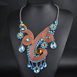 National Style Crystal Flower Necklace