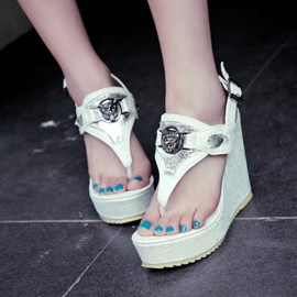 Ericdress Cool PU Buckles Wedge Sandals