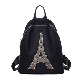 Ericdress Simple Tower Embroidery Nylon Backpack