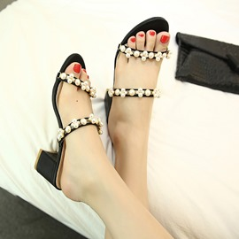 Ericdress Pearl Beads Open Toe Chunky Mules Shoes