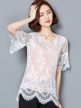 Ericdress Slim Solid Color Lace Blouse