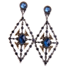 Sapphire Blue Hollowed Out Geometric Pendant Earrings