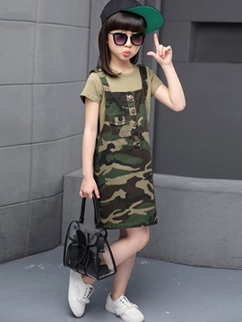 Ericdress Camouflage Suspenders Button Girls Outfits