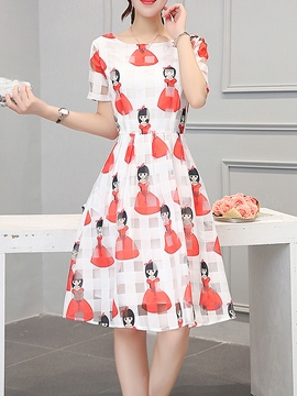 Ericdress Cartoon Print Organza Casual Dress