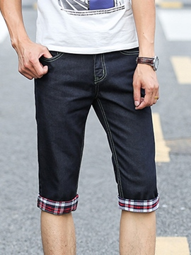 Ericdress Patchwork Denim Slim Men's Shorts