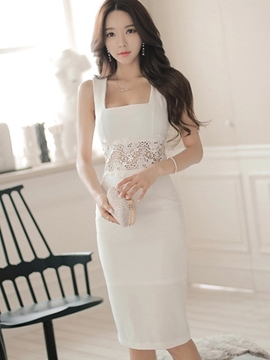 Ericdress White Lace Sheath Dress