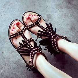 Ericdress Rivets Tassels Open Toe Flat Sandals