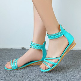 Ericdress Lovely Back Zipper Flat Sandals