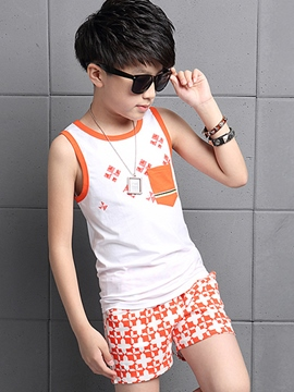 Ericdress Color Block Pocket Geometrical Printed Sleeveless Boys Outfits
